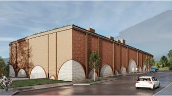 Byggnaden är en nutida tolkning av den klassiska industriarkitekturen med tegelvalv i fasaduttrycket.