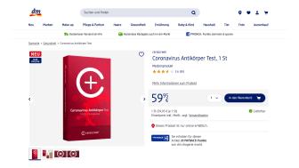 Regierungspräsidium Tübingen (RPT) bestätigt, dass der Coronavirus-Antikörpertest im Onlineshop dm.de verkauft werden darf.