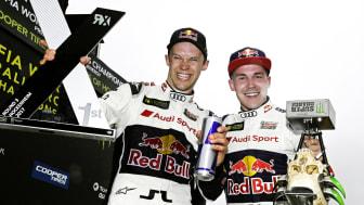 Hat-trick i rallycross-segrar och magisk uppkörning i DTM-premiären av Ekström
