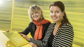 Fra venstre: Direktør for Esbjerg Kunstmuseum Inge Merete Kjeldgaard og inspektør Christiane Finsen. Fotograf: Torben E. Meyer