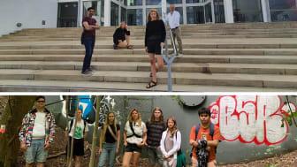 Ovan: Samtliga deltagande konstnärer utom Emma Ribbing. Nedan: Deltagande ungdomar i projektet Sustainable.