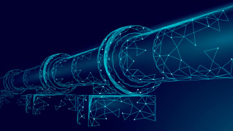 Geometric illustration of a oil and gas pipeline in light blue on a darker blue background. Royalty-free stock vector ID: 1345809761
