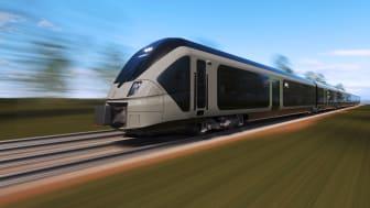 Skissbild, SJs nya regionaltåg. Utseendet på tåget kan komma att ändras.