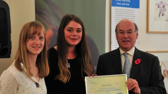 Lucie Vicentijevic and Laura Webb, Conservation Rangers at Center Parcs Woburn Forest, receive DEFRA Award for helping bees through the installation of green roofs.