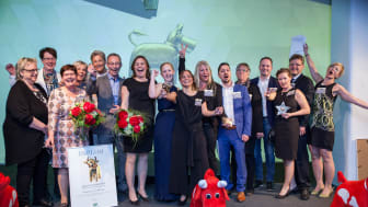 Samtliga vinnare i Arla Guldko 2017, fr v Bästa Seniormatglädje, Bästa Matglädjeförskola, Bästa Matglädjeskola, Årets Guldstjärna.