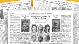 Kollage med artiklar ur Svenska Dagbladet, Göteborgs Dagblad och Dagens Nyheter den 25 maj 1919.