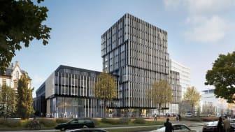 Nach den Plänen des Architekturbüros Hadi Teherani realisiert die Ed. Züblin AG das Volksbank-Areal nahe des Freiburger Hauptbahnhofs. Visualisierung / copyright: Hadi Teherani Architects