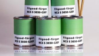 Filgoodfägern kan enkelt blandas till hos en färghandel med hjälp av NCS-koden S 3030-G30Y.