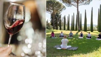 Yoga och vin i perfekt kombination