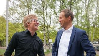 Anders Nohre-Walldén fra Grønn Byggallianse og Carl Henrik Borchsenius fra Norsk Eiendom har vært prosjektledere for utforming av håndboken. Foto: Naomi Ichihara Røkkum/Norsk Eiendom.