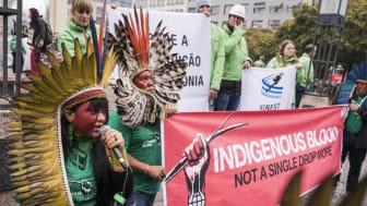 APIB og Greenpeace under protestaktion i Berlin i forbindelse med Consumer Goods Forum, et topmøde for Europas detailhandlere. Foto: Kevin McElvaney, Greenpeace