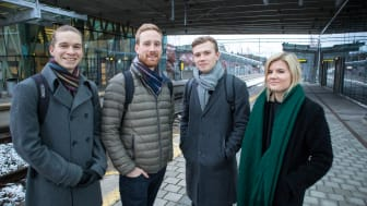 The engineering students Elias Ågren, Joakim Eriksson, Johannes Norén and Olivia Walfridsson will take the train to reach their study destinations in Italy, Spain and Portugal. Photo: Anna-Lena Lindskog