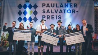 Die Gewinner des Paulaner Savlator-Preises: Olytopia, D'Schwuhplattler, Über den Tellerrand und Paulaner Geschäftsführer Andreas Steinfatt (v.l.)
