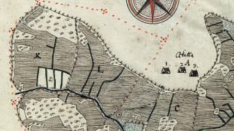 Byn Akalla i Spånga socken med utjorden Lilla Akalla, karterad 1636 av Thomas Christiernsson. Källa: LSA A10:6–7, riksarkivet.se/geometriska