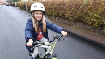 Lykke Englund fick hela familjen att cykla mer på grund av kommunens cykelkampanj. Foto: Annika Englund.