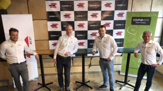 Norges E-sportforbund, her representert ved Lars Peter Østrem (breddeansvarlig), Bendik Stang (styreleder) og Jack Holand (generalsekretær) gleder seg til å samarbeide med ComeOn!s Stian Røsvik Bjørstad (nummer to fra høyre)