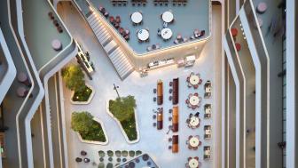 Ljusgården på Biomedicum, från ovan.