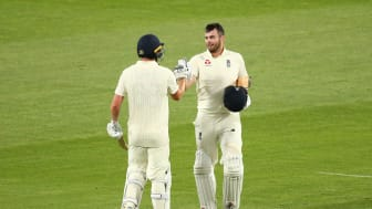 Dan Lawrence (left) and Dom Sibley both hit centuries in an unbeaten 219 partnership (Getty Sport)
