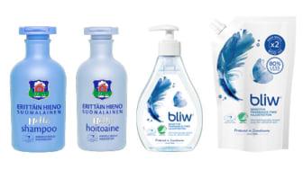 Uudet Erittäin hieno suomalainen Hellä shampoo ja hoitoaine sekä Bliw Sensitive ovat klassikkobrändien entistä hellemmät tuotteet