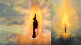 Ariana Grande's music video (left), compared to Vladimir Kush's artwork (right)