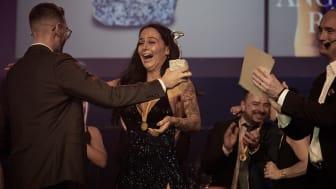 Angelica Rösnäs, när hon vann pris som årets säljare på JYSK 2019.