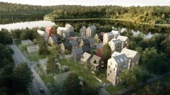 Furutå Gavlar i Torparängen, Växjö - skapat av Liljewall arkitekter och Derome.