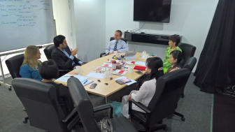 """Participants in the APACD Coaching Day on """"When is it ever okay to leverage a crisis for marketing?"""", at Hong Bao Media's Kuala Lumpur studio"""