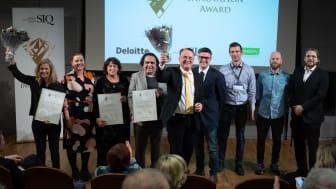 Årets fyra pristagare av Quality Innovation Award tar emot publikens applåder: SolTech Energy, Landstinget i Värmland, Nocilis Sensor och Gimic.