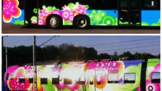Systemtext folierar blommiga bussar och tåg till Skånetrafikens Jojo sommarkampanj