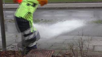 Luft- och vattenspolning i Lund 2017-03-31