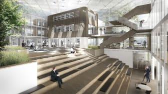 Interiør Danske Bank Odense. Illustration: Arkitema Architects