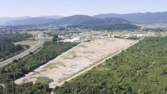 Ogulin 2 factory is under construction next to the parquet flooring factory Ogulin 1 in the city of Ogulin, Croatia.