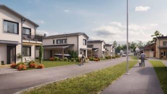 Kv Pärlbandet - 3D-bild av gatan och tvåplanshusen