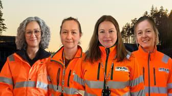 Peabs TA organisation bestående av Marit Österberg, Anncatrin Elversson, Sandra Morén, Jessica stöttar Peab Asfalt, Peab Anläggning och Lambertsson i olika TA frågor.
