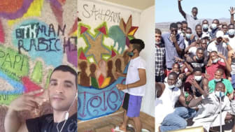 "Left and centre:  migrants ""decorating"" the walls at luxury resort.  Right:  Happy faces on the balcony"