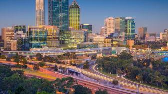 Perth, Australia skyline during sunset.