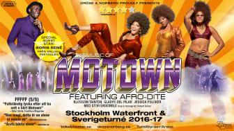 """Hyllade showen """"The Music of Motown featuring Afro-Dite"""" åker på Sverigeturné till drygt 30 orter samt gästar Waterfront 3 mars i Stockholm. Turnén stöttar samtidigt Lions hjälpprojekt för syriska flyktingbarn."""