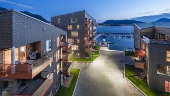 I år er det åttende gang Arkitektur- og byformingsprisen for Bergen kommune deles ut. Elsesro Brygge fikk hendrende omtale. Foto: Hundven-Clements Photography