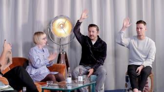 Från vänster: Kristina Ohlsson, David Sundin och Henrik Jonsson på Bokmässan 2020. / Foto: Karina Ljungdahl.