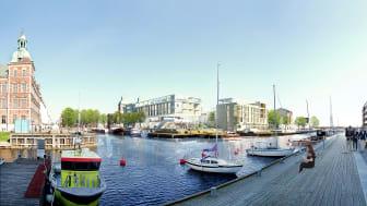 Vy från Badhusgatan. Bild: Jais Arkitekter