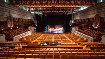 Inga publika evenemang genomförs för tillfället i Crusellhallen. Istället nyttjas lokalen som streamingstudio för kunder som vill genomföra digitala evenemang och konferenser. Bild: Visit Linköping & Co