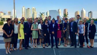 Den svenska delegationen vid FN:s årliga uppföljningskonferens för genomförandet av Agenda 2030 i New York. Foto: Regeringskansliet.