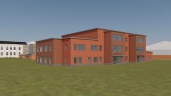 Den om- och tillbyggda Christinaskolan ska stå klar 2025.      Illustration: Sweco Architects