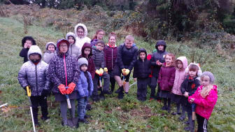 Pupils from Oakfield PS and Acorn IPS enjoying the tree planting with Woodland Trust representatives