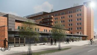 Illustration av Bromma sjukhus framtagen av White Arkitekter
