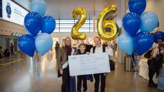 Den här veckan klev den 26-miljonte resenären Anna med sina barn Tilde och Ture in genom säkerhetskontrollen på Terminal 5, Stockholm Arlanda Airport. Foto: Victoria Ström