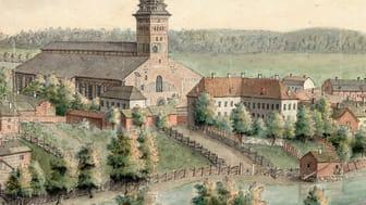 Domkyrkan med biskopsgården på en akvarell från 1780  tillskriven Elias Martin. Foto: Uppsala Universitetsbibliotek