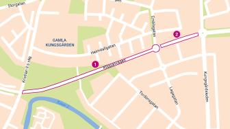 1: Sträckan mellan Kristian II:s väg och Lagegatan/Emblagatan samt den nya rondellen i korsningen öppnas upp för trafik den 26 oktober. 2: Sträckan mellan Lagegatan/Emblagatan och Kungsgårdsleden öppnar den 23 november.