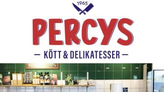 Percys logotyp och butiken i Norrviken