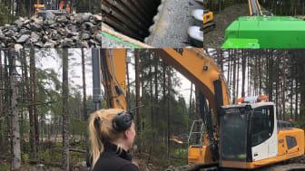 Malin på Kits Contractor i full färd med att krossa sten och berg till användbart material i stadsdelen